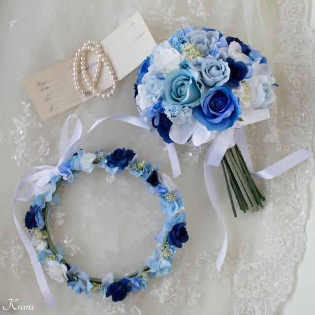 ブルークラッチブーケとブルーの花かんむり2