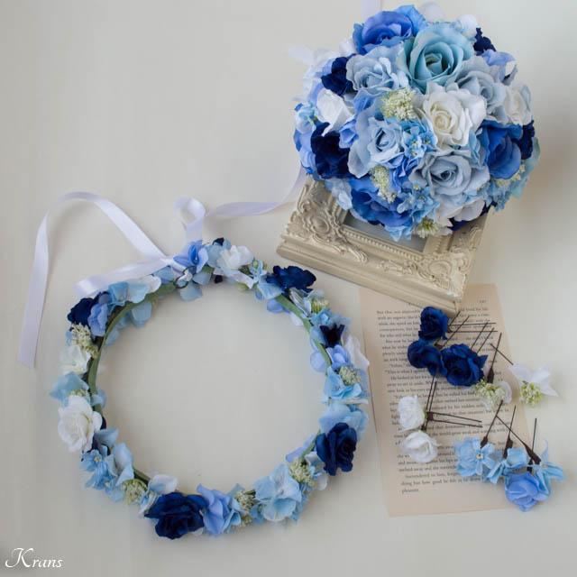 ブルークラッチブーケとブルーの花かんむり1