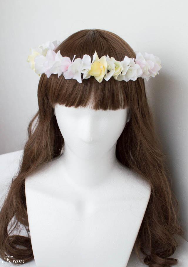 白黄ピンクのアジサイ結婚式用花かんむり4