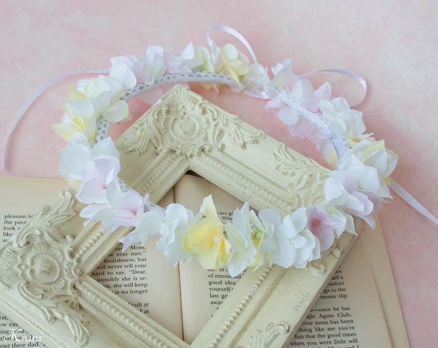白黄ピンクのアジサイ結婚式用花かんむり3