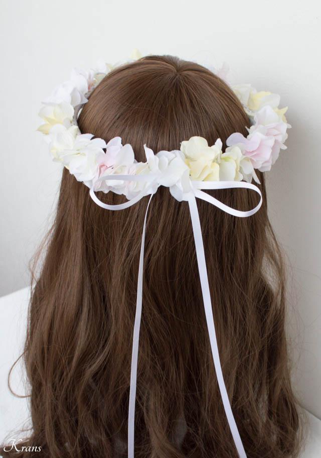 白黄ピンクのアジサイ結婚式用花かんむり5