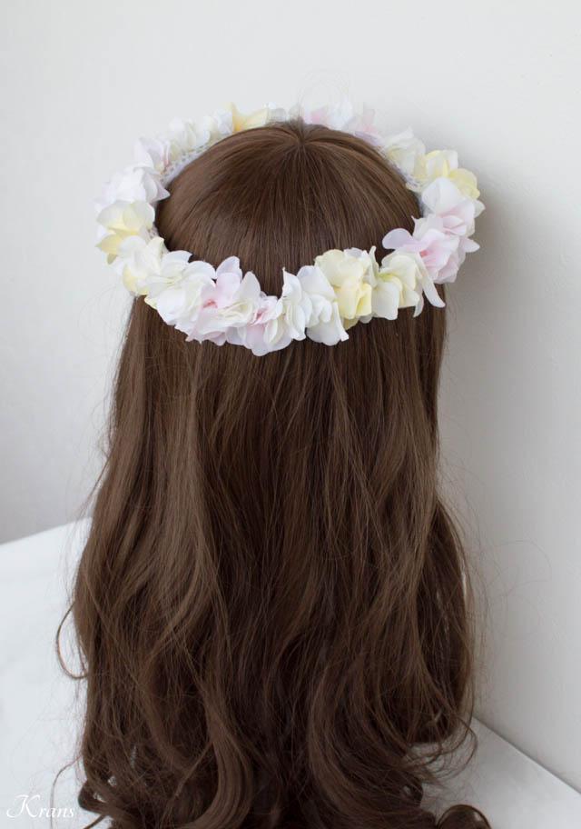 白黄ピンクのアジサイ結婚式用花かんむり6