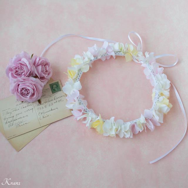 白黄ピンクのアジサイ結婚式用花かんむり