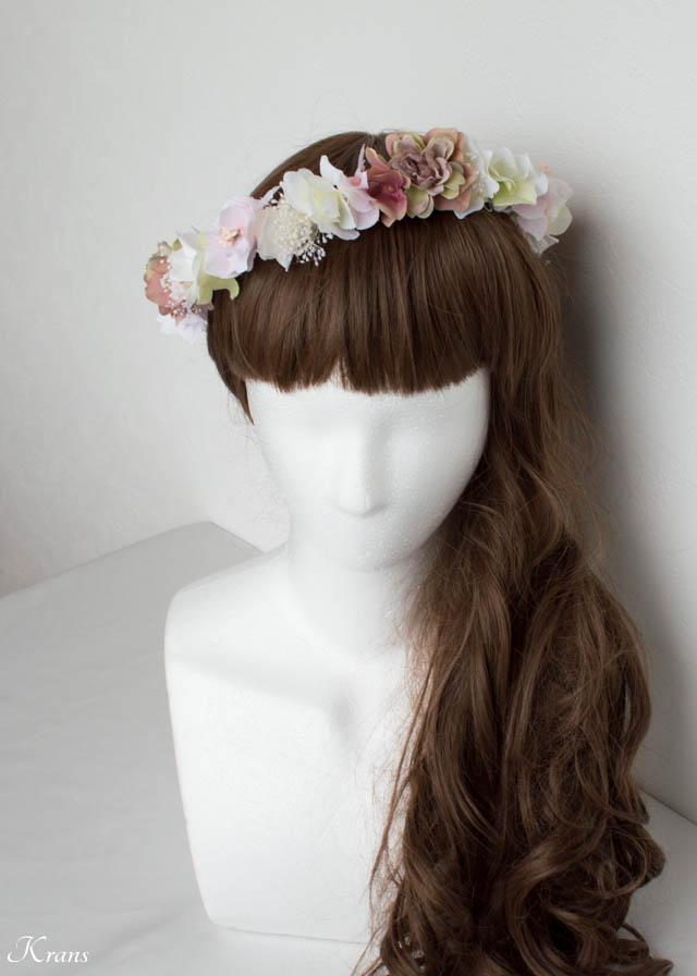 大人ウェディング花冠ヘアスタイル