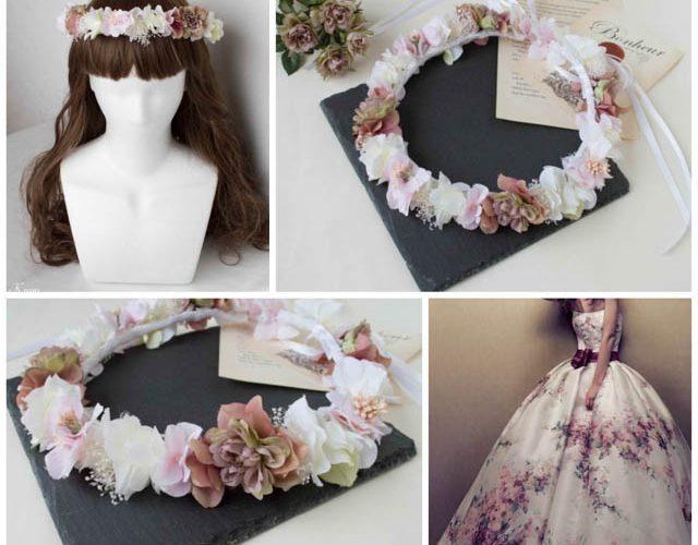 ニュアンスカラーが美しい花冠