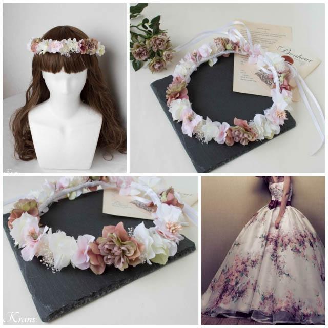 大人婚用アンティークカラーの花かんむり