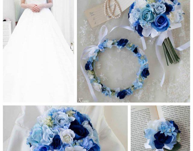 【オーダーメイド】ウェディングドレスによく似合うブルークラッチブーケ・花冠・フラワーピック
