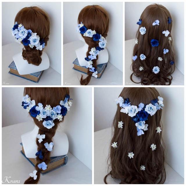 青いドレスに合わせた髪飾り