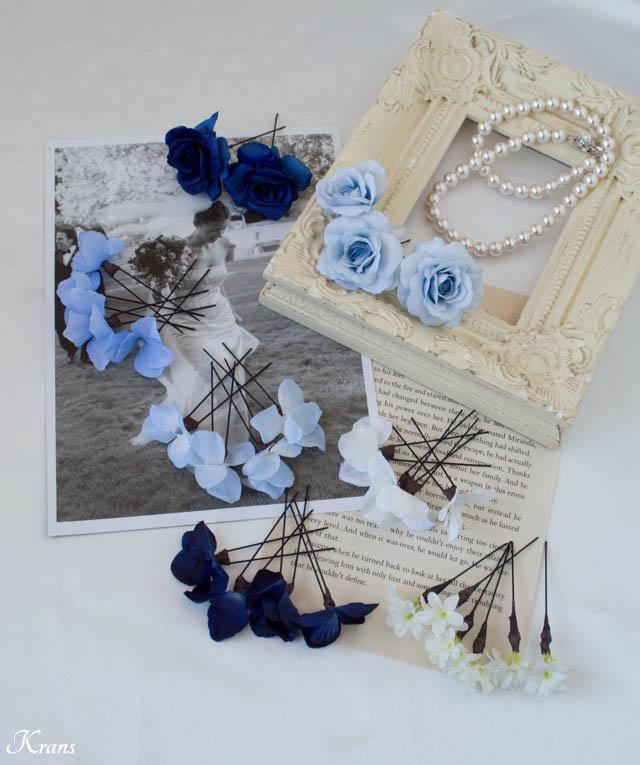 ブルードレスの結婚式ヘアアクセサリー