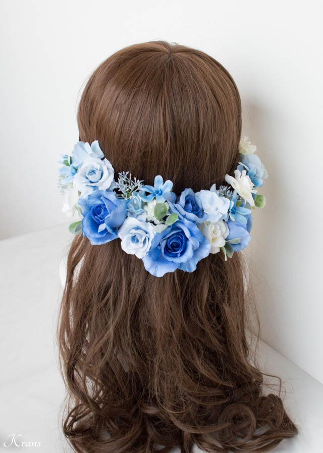 結婚式ブルーフラワーヘッドドレス3