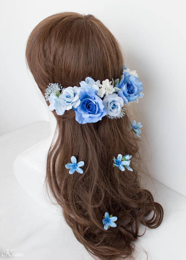 結婚式ブルーフラワーヘッドドレス4