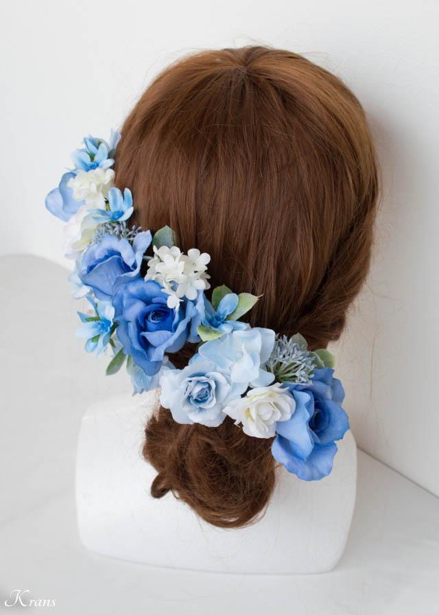 結婚式ブルーフラワーヘッドドレス6