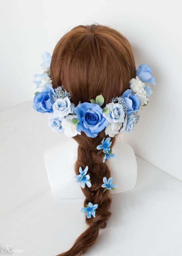 結婚式ブルーフラワーヘッドドレス8