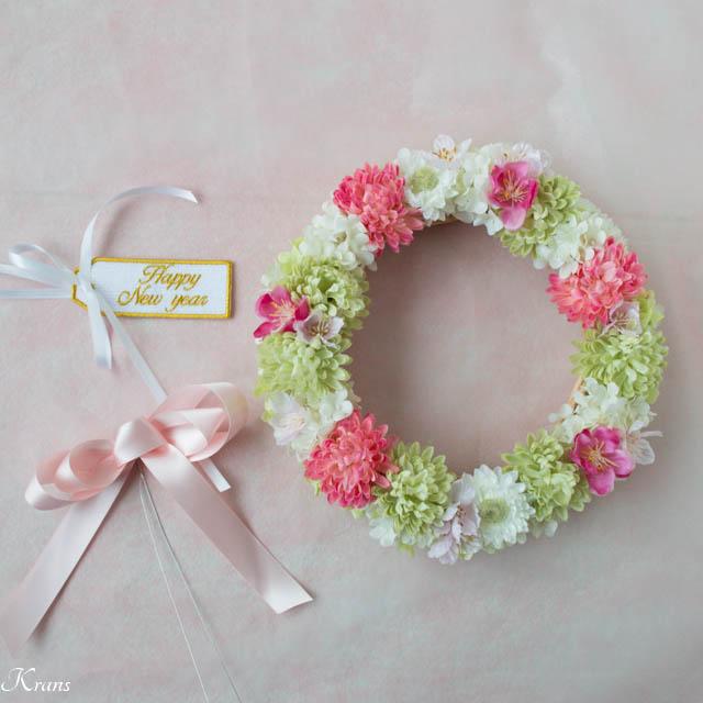 お正月から春まで使える桜と桃のリース2