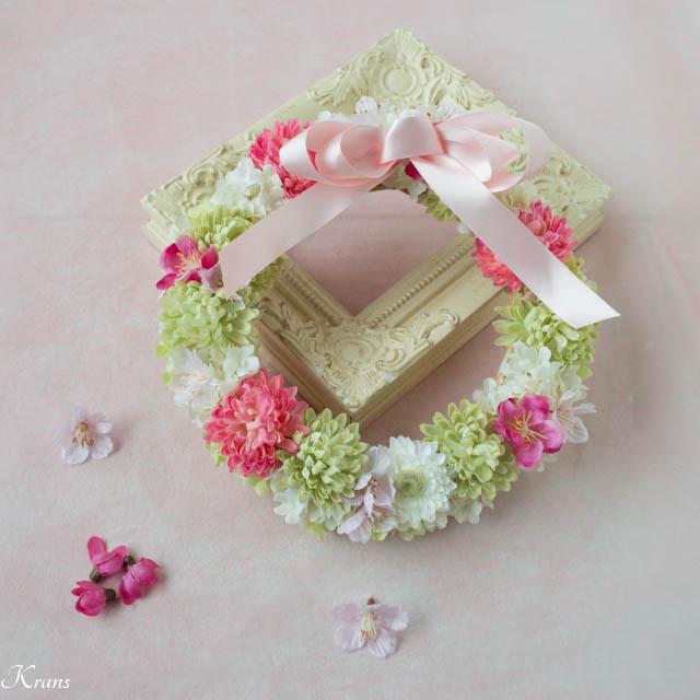 お正月から春まで使える桜と桃のリース3