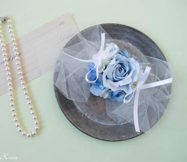 チュール付きリングドッグ用ピロー結婚式