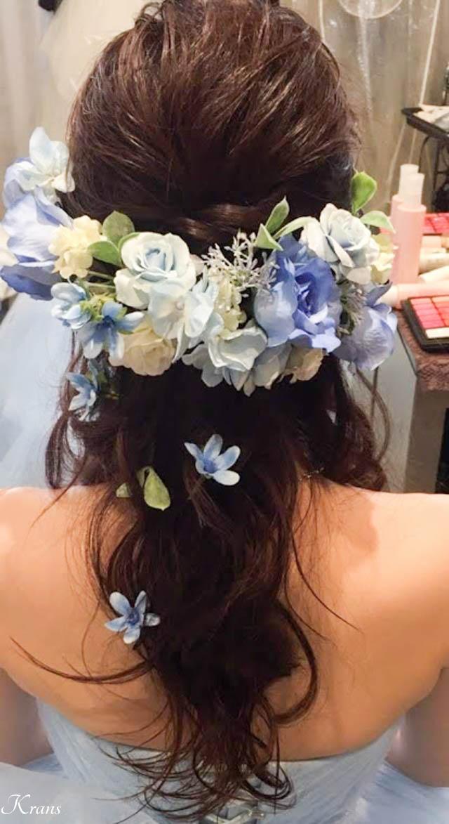 結婚式青い花髪飾り1