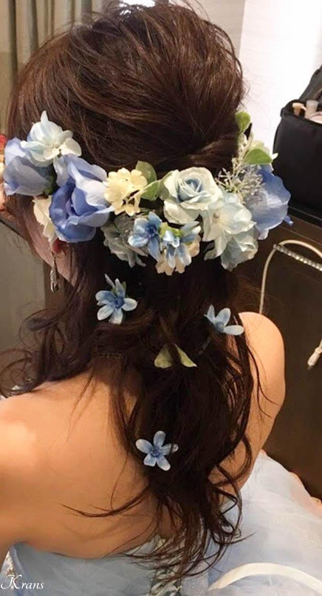 結婚式青い花髪飾り2