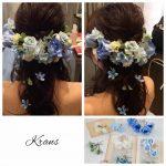 結婚式青い花髪飾り3