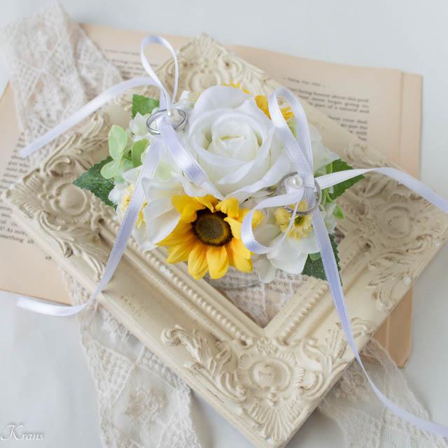 リングドッグ用のリングピロー白バラひまわり1