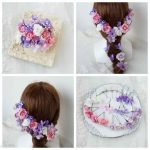 【New】ウェディングヘッドドレス(髪飾り)ピンク&パープル 25パーツ