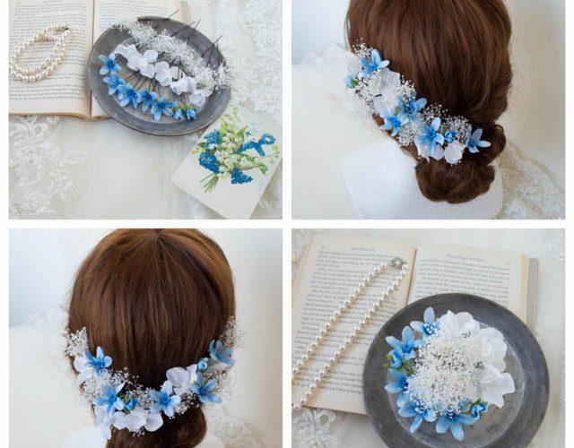 【髪飾り】かすみ草とブルースターのウェディングヘッドドレス
