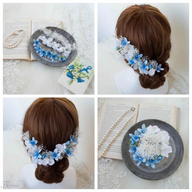 かすみ草とブルースターの結婚式髪飾り6