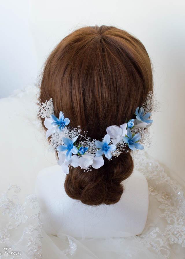 かすみ草とブルースターの結婚式髪飾り1