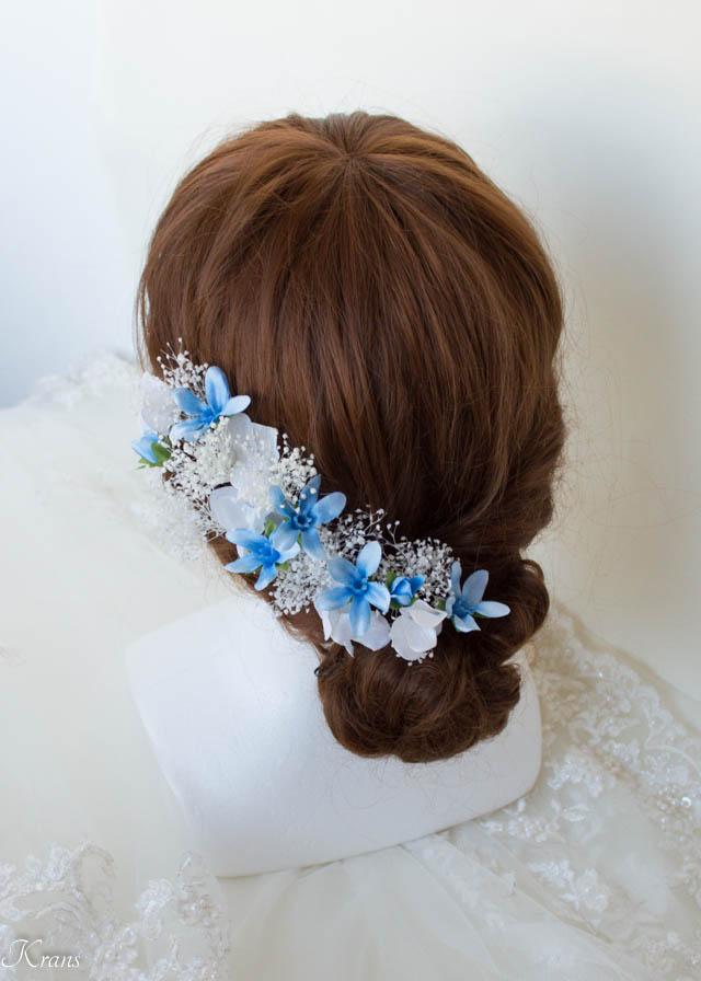 かすみ草とブルースターの結婚式髪飾り2