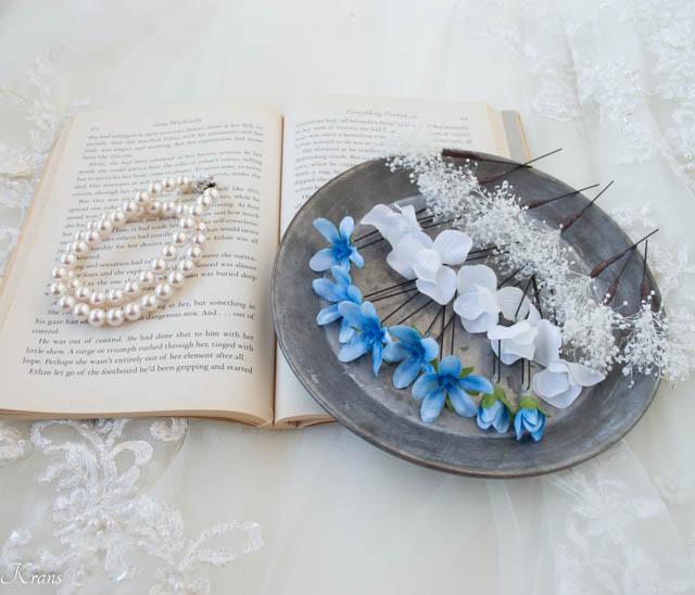 かすみ草とブルースターの結婚式髪飾り3