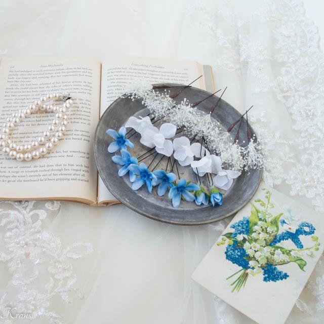 かすみ草とブルースターの結婚式髪飾り4