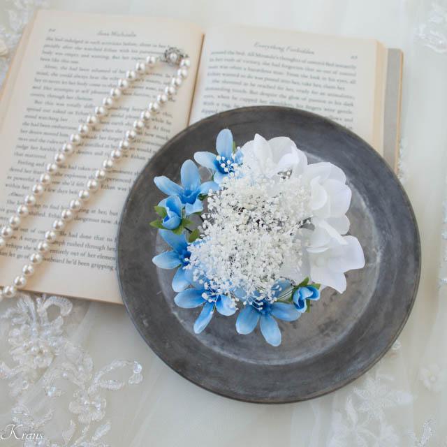 かすみ草とブルースターの結婚式髪飾り5