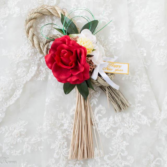 赤いバラのお正月飾り1