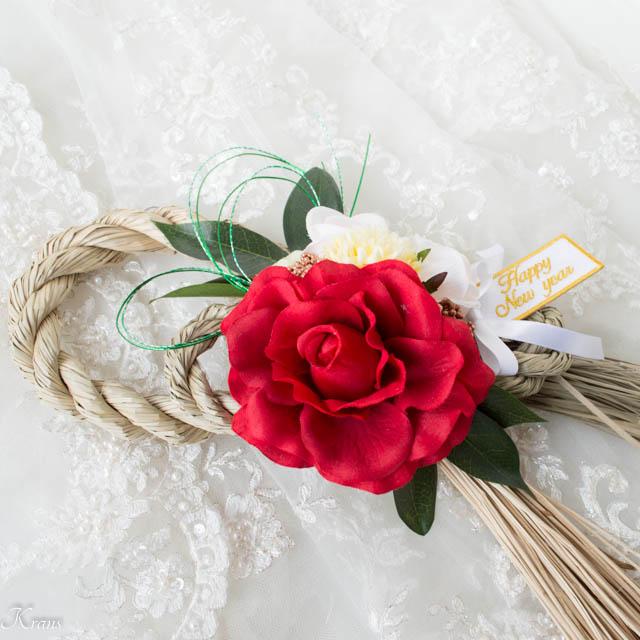 赤いバラのお正月飾り3