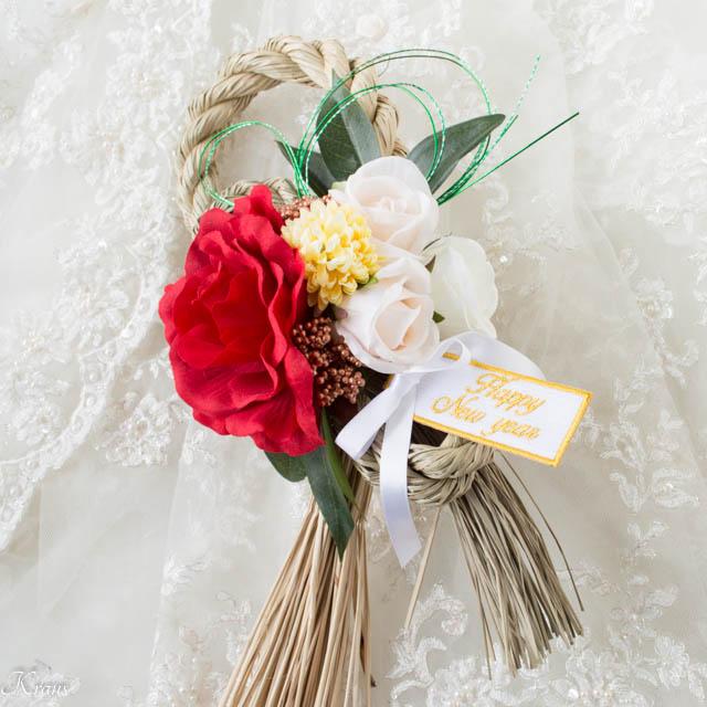 赤いバラのお正月飾り2