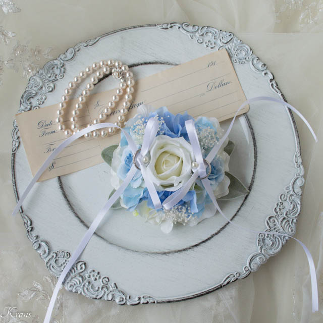 トイプードルお花のリングピロー