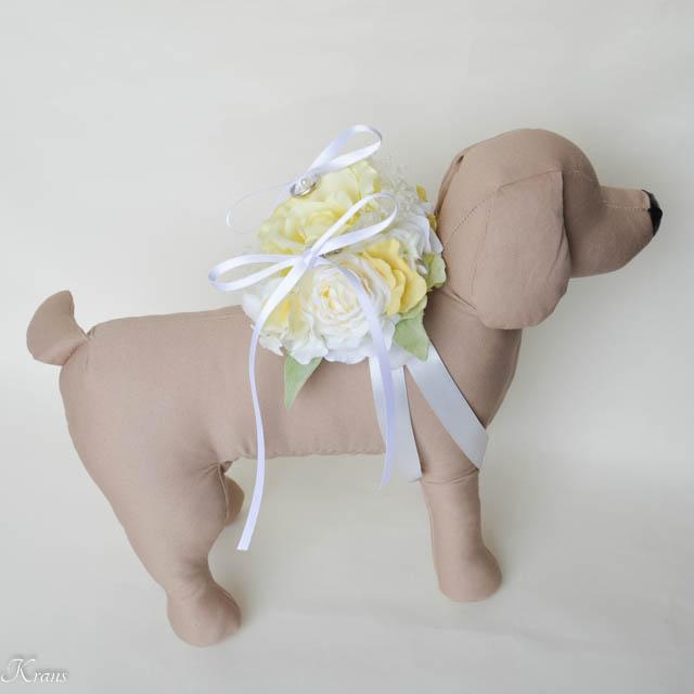 ライトイエローローズの犬用リングピロー6