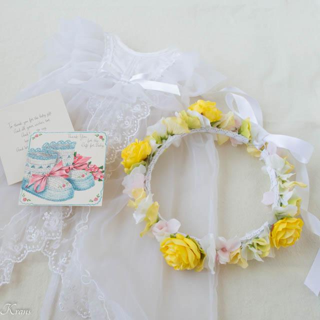 黄色いバラ1歳誕生日花冠