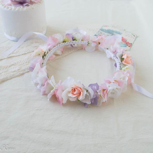 ベビーピンクのお誕生日プレゼント花かんむり