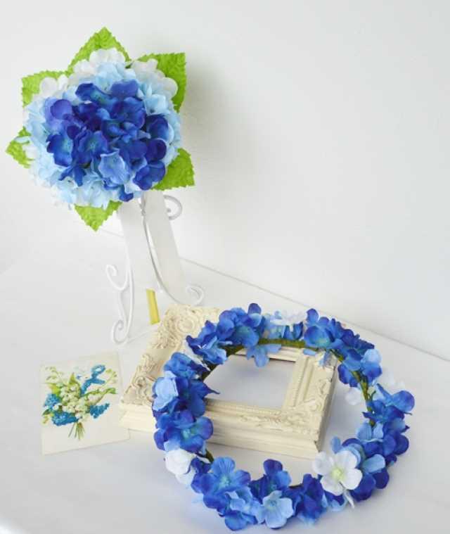 青いあじさいブーケと花冠