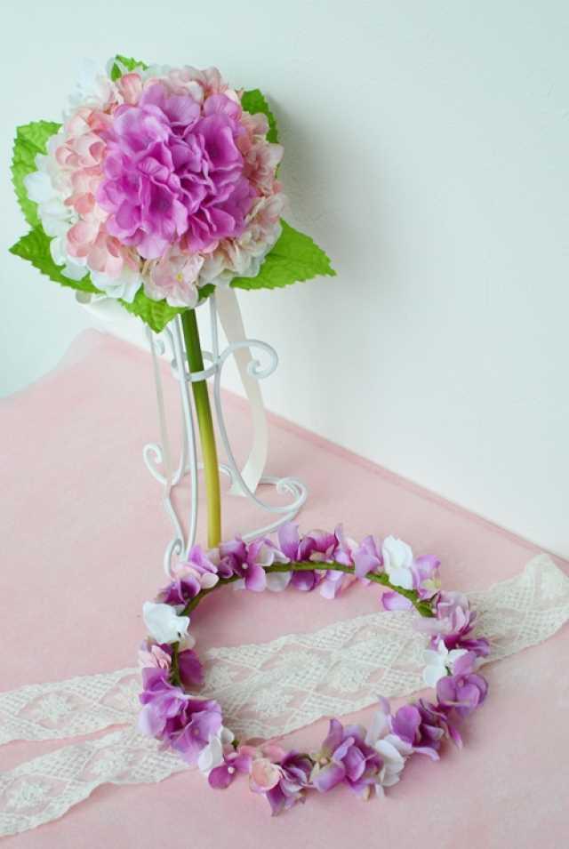 ピンクあじさいグラデーションブーケと花冠