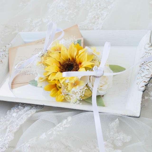 ひまわり結婚式リングピロー