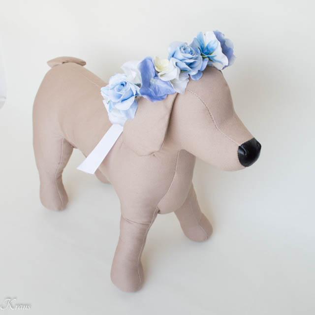 結婚式犬用花かんむり
