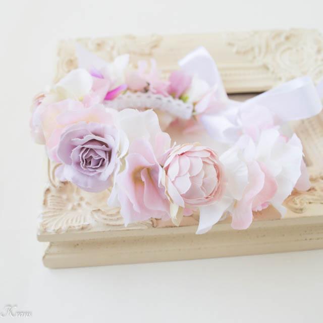 ピンクローズペット用花冠