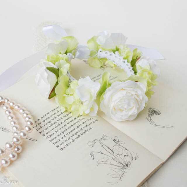 ペット用花冠白いバラ