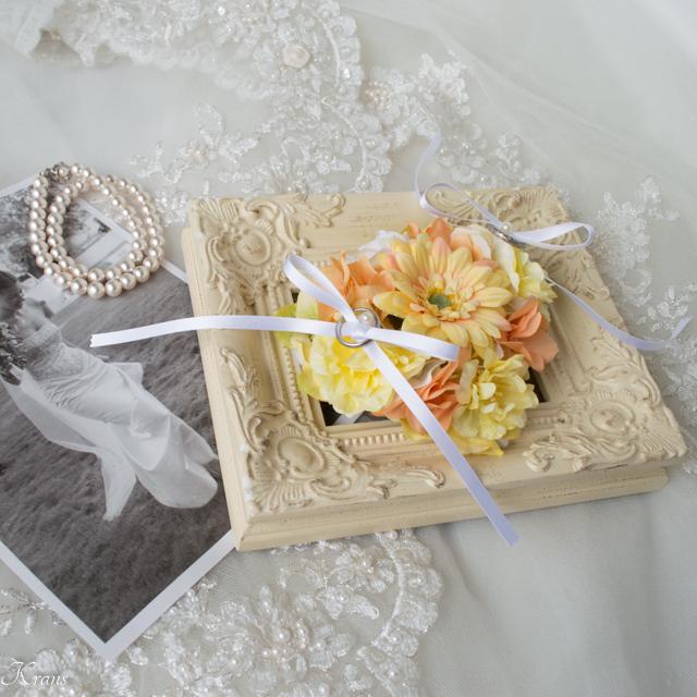 黄色ガーベラリングドッグピロー結婚式