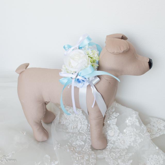 結婚式犬のリングピロー背負う