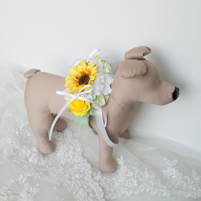 ひまわりリングピロー犬結婚式演出5