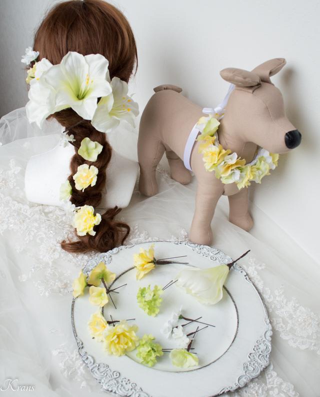 結婚式髪飾りアマリリス愛犬ウェディング