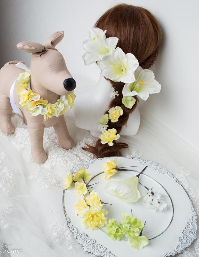 結婚式髪飾りアマリリス愛犬お揃い
